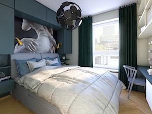 Mieszkanie dla artystów - Mała biała szara sypialnia małżeńska, styl eklektyczny - zdjęcie od Boho Studio