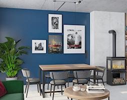 Kontrastowe wnętrze domu pod Warszawą. - Średni szary niebieski salon z jadalnią, styl industrialny - zdjęcie od Boho Studio - Homebook