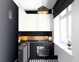 Luksusowy apartament w kamienicy - Średnia zamknięta biała czarna kuchnia w kształcie litery l z oknem, styl eklektyczny - zdjęcie od Boho Studio - Homebook