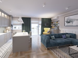 Klasyczne wnętrza na Wilanowie - Średni szary salon z kuchnią z jadalnią, styl klasyczny - zdjęcie od Boho Studio
