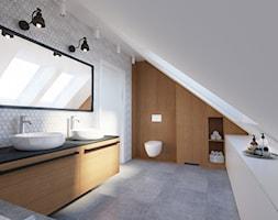 Dom jednorodzinny w stylu loftowym - Średnia biała szara łazienka na poddaszu w domu jednorodzinnym z oknem, styl industrialny - zdjęcie od Boho Studio - Homebook