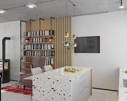 Kontrastowe wnętrze domu pod Warszawą. - Średnia otwarta szara kuchnia jednorzędowa z wyspą z oknem, styl industrialny - zdjęcie od Boho Studio - Homebook