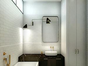 Luksusowy apartament w kamienicy - Średnia szara łazienka w bloku w domu jednorodzinnym bez okna, styl klasyczny - zdjęcie od Boho Studio