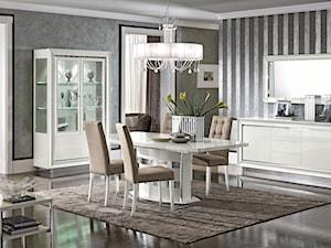 Styl włoski - Duża zamknięta biała beżowa szara jadalnia jako osobne pomieszczenie, styl włoski - zdjęcie od RAD-POL