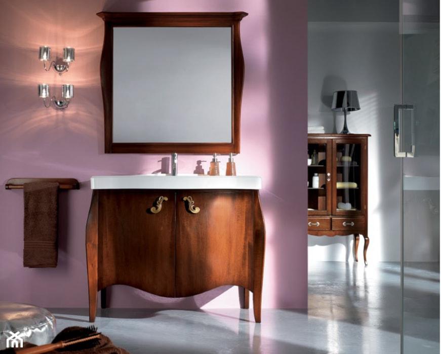 Meble do łazienki - Średnia różowa łazienka w bloku w domu jednorodzinnym bez okna, styl eklektyczny - zdjęcie od RAD-POL