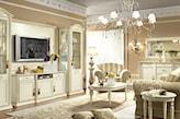 białe meble w salonie w stylu klasycznym