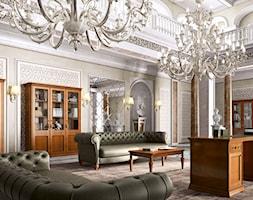 Styl klasyczny - Duży szary salon z bibiloteczką, styl klasyczny - zdjęcie od RAD-POL