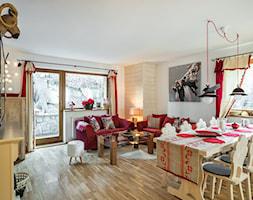 Dom Malina, Zakopane - Średni duży biały salon z jadalnią, styl rustykalny - zdjęcie od www.tatrytop.pl