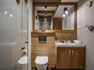 Apartament Granitica Platinium 8, Zakopane - Mała szara łazienka w bloku bez okna, styl skandynawski - zdjęcie od www.tatrytop.pl