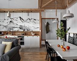 Apartament Granitica Platinium 10, Zakopane - Średnia biała jadalnia w kuchni w salonie, styl skandynawski - zdjęcie od www.tatrytop.pl