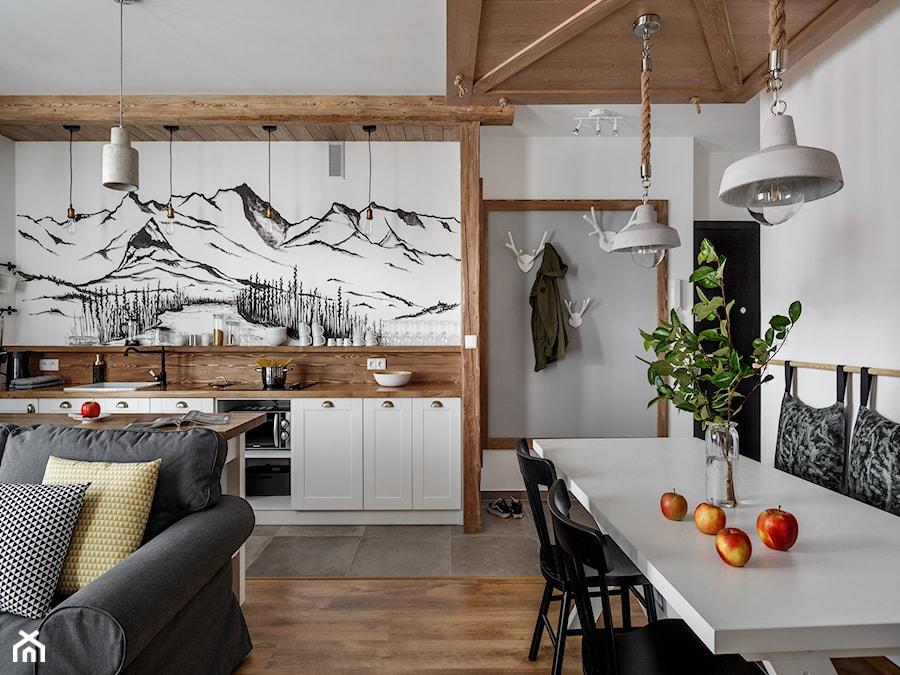 Apartament Granitica Platinium 10, Zakopane - Średnia biała jadalnia w kuchni w salonie, styl skand ... - zdjęcie od www.tatrytop.pl