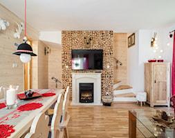 Dom Malina, Zakopane - Średnia otwarta biała jadalnia w salonie, styl rustykalny - zdjęcie od www.tatrytop.pl