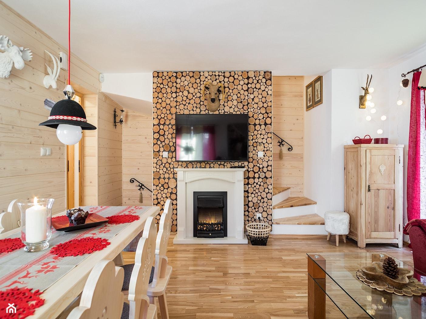 Dom Malina, Zakopane - Średnia otwarta biała jadalnia w salonie, styl rustykalny - zdjęcie od www.tatrytop.pl - Homebook