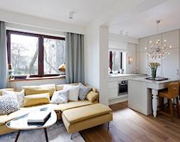 Mieszkanie - Stare Włochy - Średni salon z kuchnią, styl nowojorski - zdjęcie od Izabela Rydygier Architektura Wnętrz - Homebook