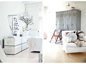 Metalowe szafki w pokojach - surowe wyrafinowanie.