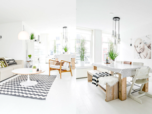 Wyjątkowe mieszkanie w jasnych i naturalnych barwach.