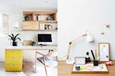 drewniane krzesło, białe biurko, żółte szafki, biała lampa