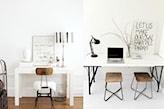 białe biurko, drewniane krzesło, metalowa lampa biurowa, szklany wazon