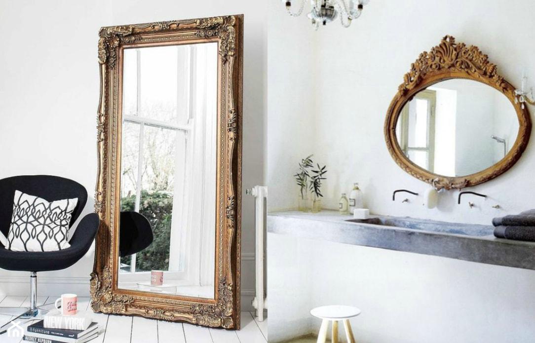 duże lustro ścienne w złotej ozdobnej ramie, biały taboret, drewniana podłoga