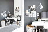 metalowa lampa biurowa, szara ściana, białe biurko