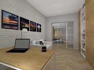 nowocześnie i przytulnie - dom w Kaliszu - Średnie szare biuro domowe w pokoju, styl nowoczesny - zdjęcie od RedCubeDesign projektowanie wnętrz