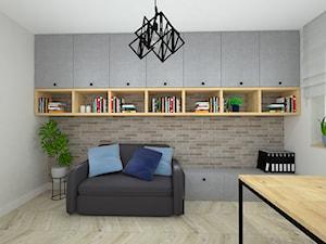 klasyka z nutką granatu - Średnie beżowe białe biuro domowe kącik do pracy w pokoju, styl nowoczesny - zdjęcie od RedCubeDesign projektowanie wnętrz