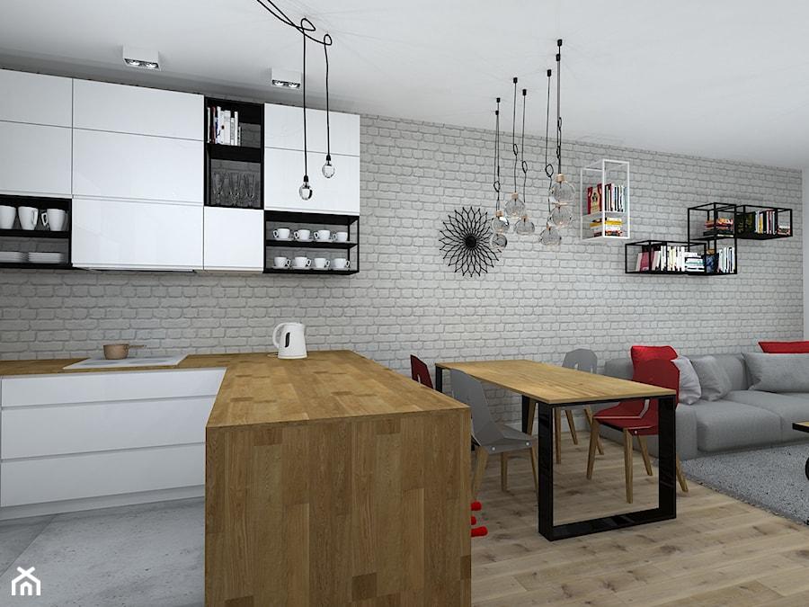 mieszkanie w loftowym klimacie - Średnia otwarta jadalnia w kuchni w salonie, styl industrialny - zdjęcie od RedCubeDesign projektowanie wnętrz
