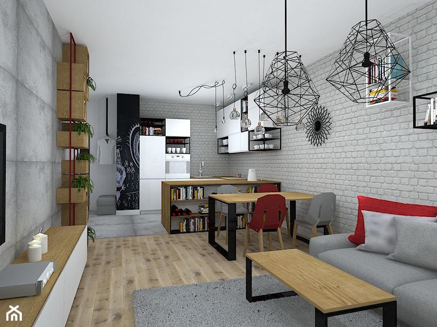Mieszkanie W Loftowym Klimacie średni Szary Salon Z