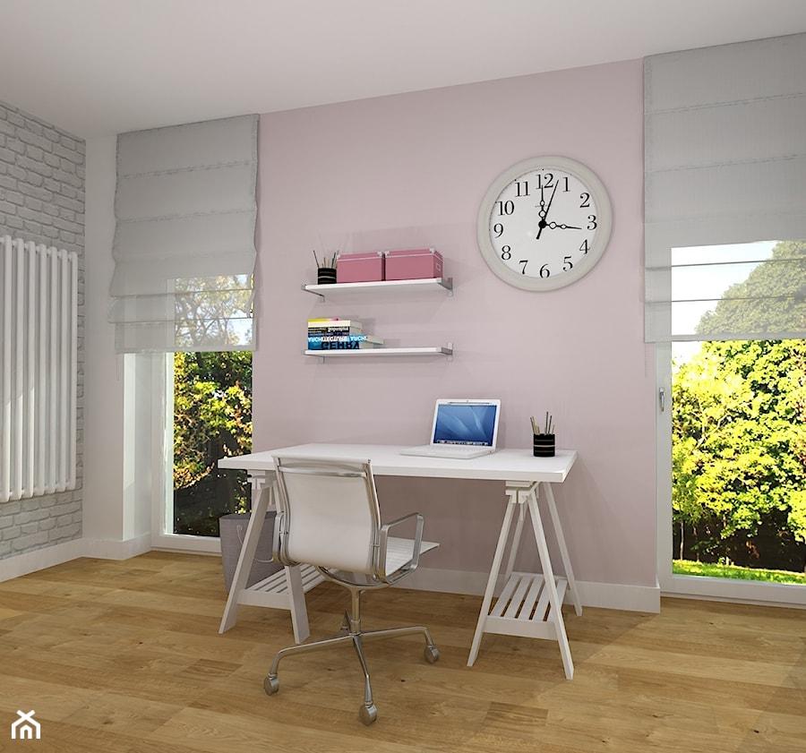 pokój dla nastolatki - Mały biały szary różowy pokój dziecka dla chłopca dla dziewczynki dla ucznia dla nastolatka, styl skandynawski - zdjęcie od RedCubeDesign projektowanie wnętrz