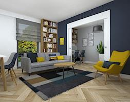 rowerowe mieszkanie - Mały szary biały niebieski salon z jadalnią, styl nowoczesny - zdjęcie od RedCubeDesign projektowanie wnętrz