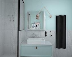 mieszkanie w kamienicy - Mała niebieska łazienka w bloku jako salon kąpielowy bez okna, styl nowoczesny - zdjęcie od RedCubeDesign projektowanie wnętrz