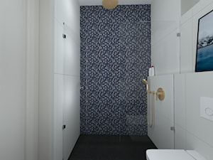 klasyka z nutką granatu - Mała łazienka w bloku w domu jednorodzinnym bez okna, styl klasyczny - zdjęcie od RedCubeDesign projektowanie wnętrz