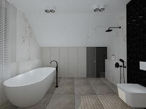 klasyka z nutką granatu - Duża biała łazienka na poddaszu w bloku w domu jednorodzinnym z oknem, styl klasyczny - zdjęcie od RedCubeDesign projektowanie wnętrz