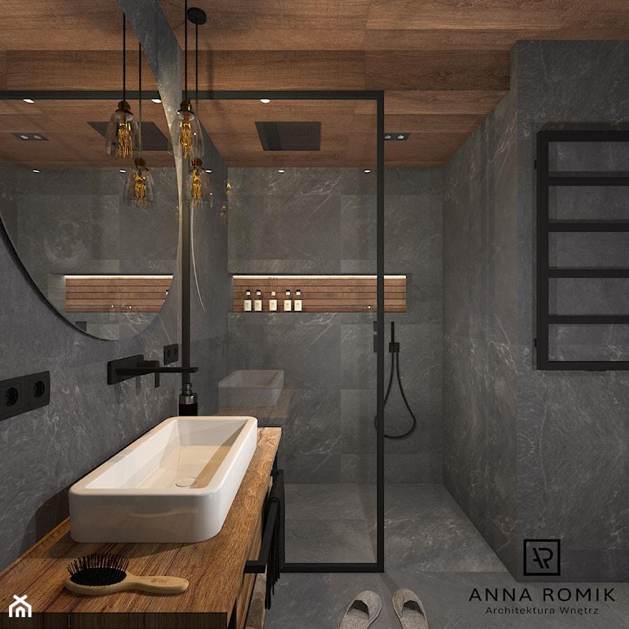 Łazienka 4 - Mała łazienka w bloku w domu jednorodzinnym bez okna, styl industrialny - zdjęcie od Anna Romik Architektura Wnętrz