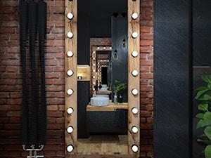Łazienka 11 - Mała czarna łazienka w bloku w domu jednorodzinnym bez okna, styl industrialny - zdjęcie od Anna Romik Architektura Wnętrz