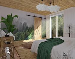 Sypialnia 2 - Duża beżowa kolorowa sypialnia małżeńska z balkonem / tarasem, styl skandynawski - zdjęcie od Anna Romik Architektura Wnętrz