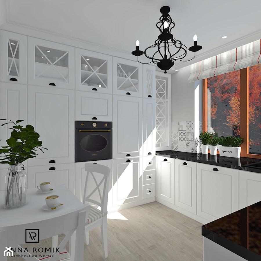 Kuchnia 3 - Średnia szara kuchnia w kształcie litery u z oknem, styl rustykalny - zdjęcie od Anna Romik Architektura Wnętrz