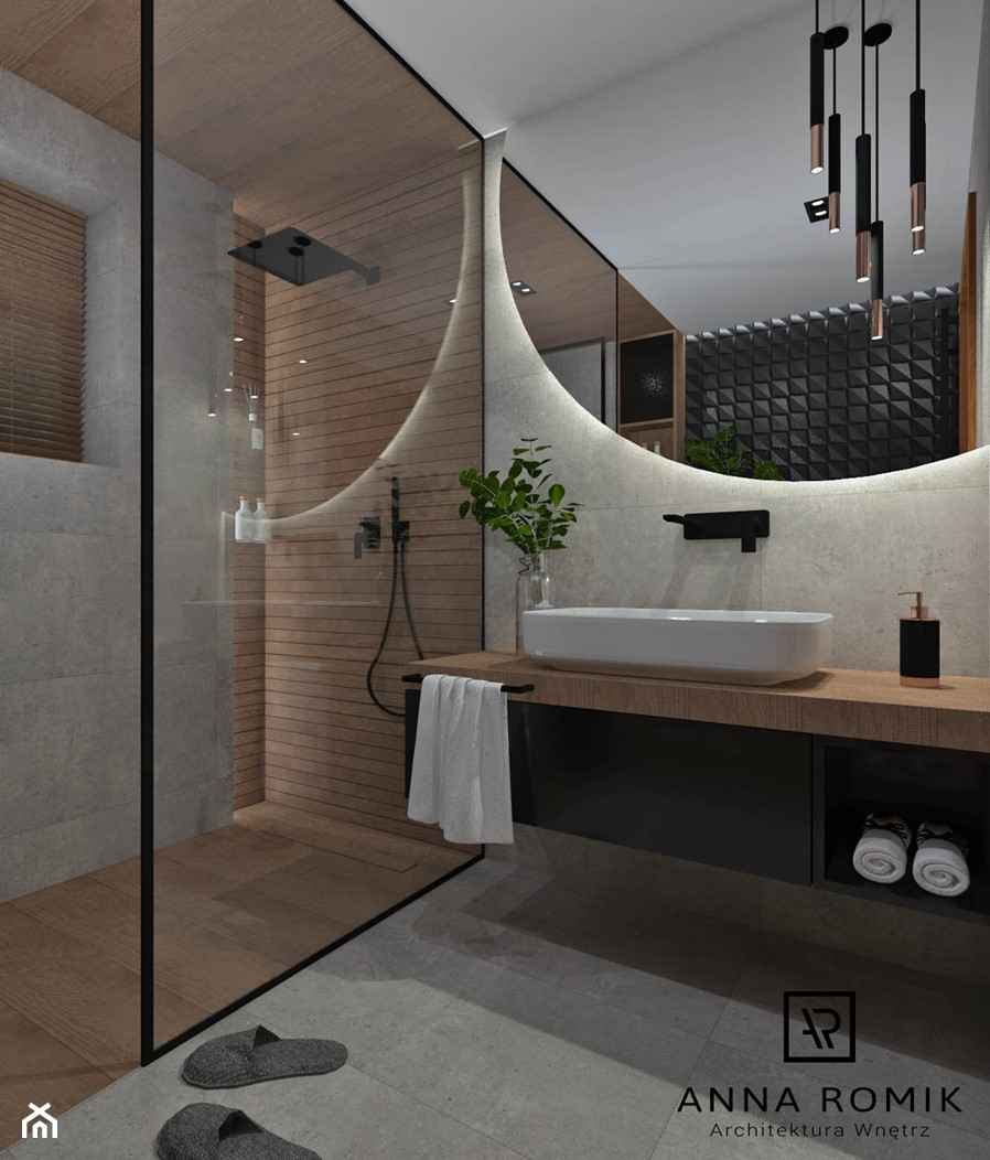 Łazienka 13 - Średnia szara łazienka w bloku w domu jednorodzinnym bez okna, styl nowoczesny - zdjęcie od Anna Romik Architektura Wnętrz - Homebook