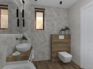 Łazienka 6 - Średnia szara łazienka na poddaszu w bloku w domu jednorodzinnym z oknem, styl skandynawski - zdjęcie od Anna Romik Architektura Wnętrz