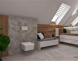 Łazienka 8 - Duża łazienka na poddaszu w domu jednorodzinnym z oknem, styl skandynawski - zdjęcie od Anna Romik Architektura Wnętrz - Homebook