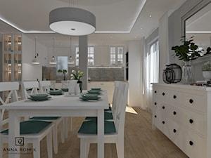 Salon z kuchnią 4 - Duża otwarta szara kuchnia w kształcie litery u, styl skandynawski - zdjęcie od Anna Romik Architektura Wnętrz