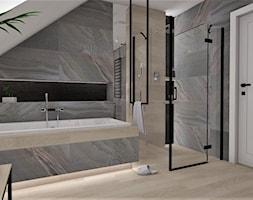 Łazienka 16 - Duża szara łazienka na poddaszu jako salon kąpielowy, styl nowoczesny - zdjęcie od Anna Romik Architektura Wnętrz