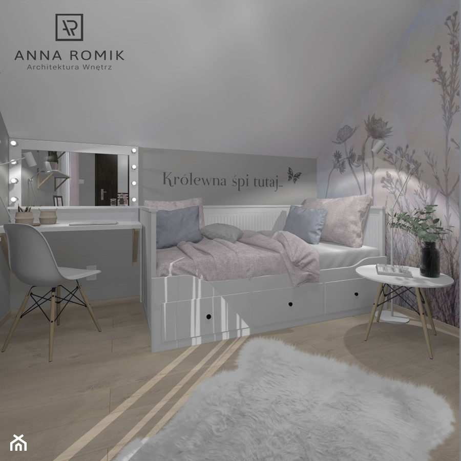 Pokój dziecięcy 10 - Średni biały szary pokój dziecka dla dziewczynki dla ucznia dla malucha dla nastolatka, styl skandynawski - zdjęcie od Anna Romik Architektura Wnętrz