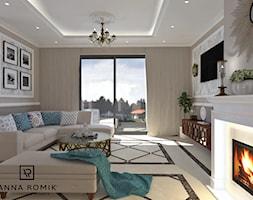 Salon - Średni beżowy salon, styl klasyczny - zdjęcie od Anna Romik Architektura Wnętrz