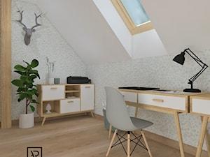 Biuro domowe - Małe biuro na poddaszu, styl skandynawski - zdjęcie od Anna Romik Architektura Wnętrz
