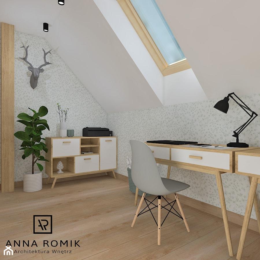 Aranżacje wnętrz - Biuro: Biuro domowe - Małe biuro na poddaszu, styl skandynawski - Anna Romik Architektura Wnętrz. Przeglądaj, dodawaj i zapisuj najlepsze zdjęcia, pomysły i inspiracje designerskie. W bazie mamy już prawie milion fotografii!