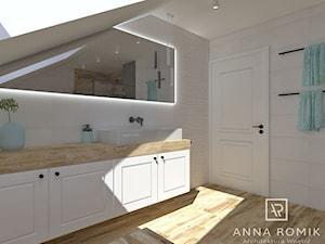 Łazienka 32 - Średnia biała szara łazienka na poddaszu w domu jednorodzinnym z oknem, styl skandynawski - zdjęcie od Anna Romik Architektura Wnętrz