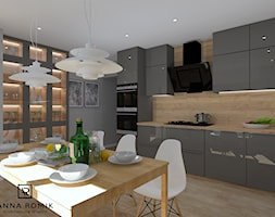 Kuchnia 4 - Średnia szara kuchnia jednorzędowa w aneksie, styl skandynawski - zdjęcie od Anna Romik Architektura Wnętrz