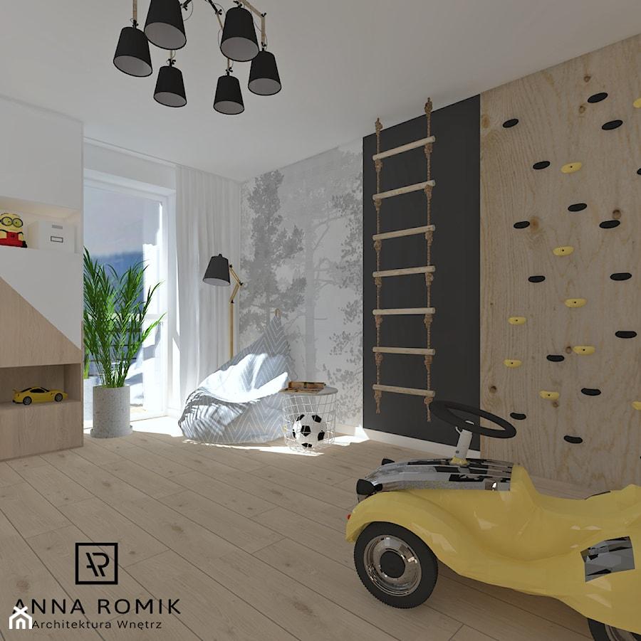Pokój dziecięcy 3 - Średni szary czarny pokój dziecka dla chłopca dla malucha, styl skandynawski - zdjęcie od Anna Romik Architektura Wnętrz