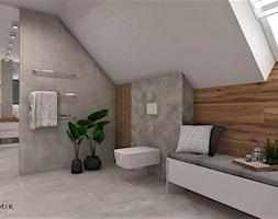 Łazienka 8 - Duża beżowa szara łazienka na poddaszu w bloku w domu jednorodzinnym z oknem, styl skandynawski - zdjęcie od Anna Romik Architektura Wnętrz